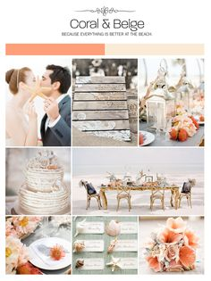 Coral and beige beach inspiration board, color palette, mood board, wedding ideas