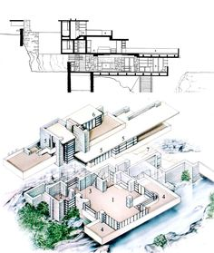 Frank Lloyd Wright, Fallingwater, isometric /section drawing, Pennsylvania, 1934-37