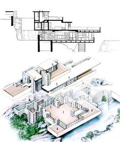 Frank Lloyd Wright, Fallingwater, isometric /section drawing, Pennsylvania, 1934-37