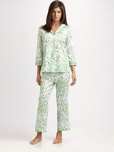 Oscar de la Renta Sleepwear Spring Foliage Sateen Pajama Set