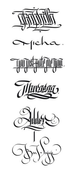 Digital Calligraphy by Ivan Manolov, via Behance Tattoo Lettering Fonts, Cool Lettering, Types Of Lettering, Lettering Styles, Lettering Design, Calligraphy Words, Calligraphy Alphabet, Typography Letters, Penmanship
