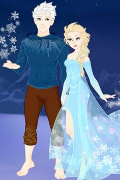 Jack Frost and Elsa Better Quality ~ by AbigailNZ111 ~ created using the Azaleas Dolls doll maker | DollDivine.com