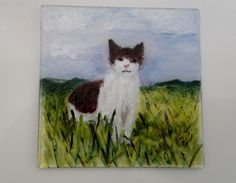 'Cat in the Grass' Painting on a Fused Glass Coaster £12.00