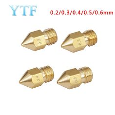 2PCS 3D Printer Brass Nozzle 0.4MM with M6 Thread  NEW
