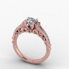 Rose gold engagement ringmoissanite engagement by fabiandiamonds, $1475.00