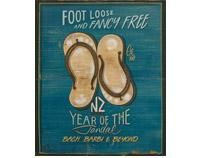 """Discover Me : Foot Loose Jandals by Jason Kelly by Prints NZ Art PrintImage size in millimetres: 370 x loose and fancy free"""" reads this print from the Sweet As kiwiana series by Jason Kelly """"NZ:. New Zealand Beach, New Zealand Art, Nz Art, Kiwiana, Popular Art, Panel Art, Couture, Art Reproductions, Vintage Posters"""
