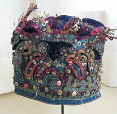 Chinese Minority people's old hand embroidery Child hat