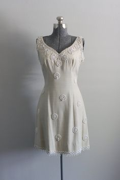 Vintage 1950s Dress / 50s Party Dress / Tan by TuesdayRoseVintage
