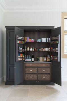 Beautiful handmade kitchens – Own Kitchen Pantry Larder Unit, Kitchen Larder, Kitchen Pantry Design, Kitchen Cupboards, Interior Design Kitchen, Kitchen Storage, Pot Storage, Kitchen Ideas, Cabinets