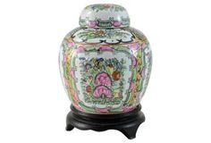 Pink Chinese Rose Garden Jar w/ Stand