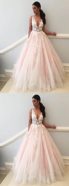 a-line v-neck tulle long prom/evening dress #prom #promdress #eveningdress #eveningdresses #prom2018