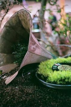 Musical Planters - Gramophone and moss record tray.  Unique planter  see more music planters:  http://thegardeningcook.com/musical-planters-creative-gardening-ideas/