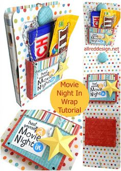 Creative Gift Wrap Idea: Movie Night DVD & Candy Wrap Tutorial...This Would Be So Cute For Any Occasion...Birthdays, Baby Shower, Wedding Gift...Stocking Stuffer, Etc...Click On Picture For Tutorial & Pattern For DVD Cover...