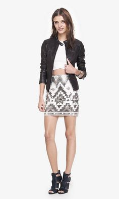 Ivory And Silver Aztec Sequin Mini Skirt | Express