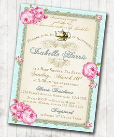 Tea Party Baby Shower Tea Party Invitation   Floral, Vintage, Pink, Aqua,  Gold, Roses   DIY Printable