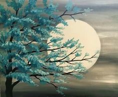 Teal Tree in the Moonlight