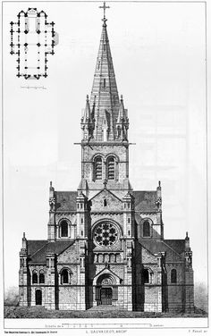 Elevation and plan of the church of Saint-Hilaire, Rouen