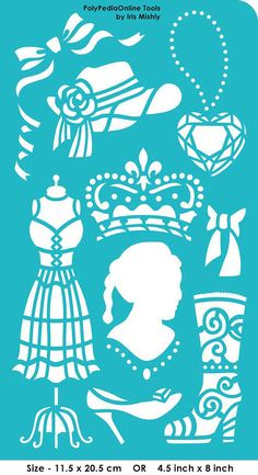 "Stencil Stencils Templates ""Fashion"", self-adhesive, flexible, for polymer clay, fabric, wood, glass, card making"