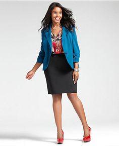 Wear What Works Plus Size Pencil Skirt & Blazer Look - Plus Size Suits & Separates - Plus Sizes - Macy's