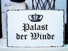 XL 26x17cm Shabby Vintage Schild PALAST DER WINDE von homestyle-accessoires via dawanda.com