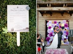 Loving the gorgeous unique purple wall behind the bride and groom!   Purple Vineyard Wedding: Tomel + Lenin