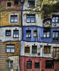 Hundertwasser Flats in Vienna, created by the artist Friedensreich Hundertwasser in 1985