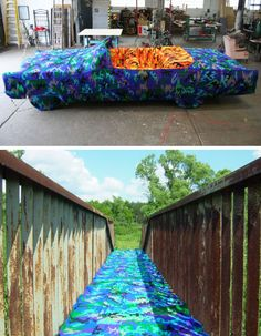 Gee, I wonder if I can crochet on that?  Convert your yarn bomb! Yarn bomb bridge over troubled waters!