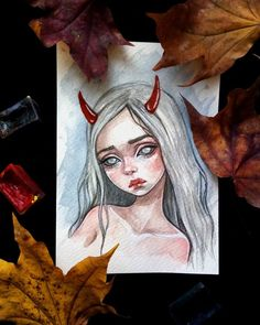 This baby is made on watercolor paper with a density of 300 g/m. On the reverse side, there is a seal for using this miniature painting as a postcard. Will become a magnificent gift or adornment of your collection. Pinturas Disney, 3d Chalk Art, Witch Art, 3d Drawings, Dark Fantasy Art, Art Sketchbook, Cute Art, Art Day, Art Inspo