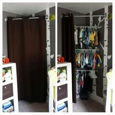 Corner closet for Ollie's nursery ♡ Pinterest win for me! Very nice for rooms without closets like this one. Our house is OLD and small. We did have to buy special screws for our plaster walls to hold this up.