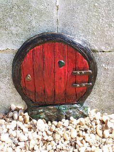 Fairy Door The Oblietta Door Red & Black by Fairy behind the Door on Etsy Garden Doors, Fairy Doors, Gnome Village, Miniature Fairy Gardens, Mini Gardens, Black Fairy, Magical Images, Outside Decorations, Outdoor Landscaping