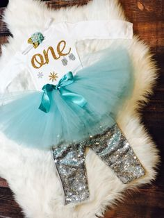 Winter wonderland birthday outfit | First Birthday Outfit Winter in Aqua and Gold | Girls First Birthday Outfit | 1st Birthday Girl Outfit by BespokedCo on Etsy