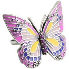 Lucky Brand Pink Enamel Butterfly Ring ($23) ❤ liked on Polyvore featuring jewelry, rings, women, daisy jewelry, pink ring, monarch butterfly jewelry, daisy ring and lucky brand jewelry
