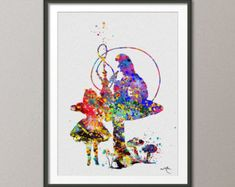 Alice in Wonderland and Mad Hatter Watercolor Print by CocoMilla