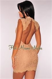 Peachy Nude Embroidered Open Back Dress