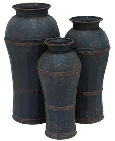 Metal 3 Piece Floor Vase Set