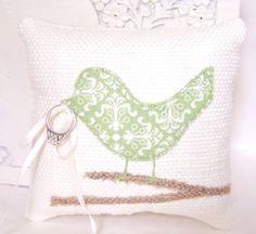 Love Bird Ring Bearer Pillow Light Sage by vintagegreenlimited, $36.00