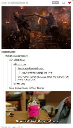 PUT ALL THE DOLLARS IN THE JAR.<- who's George and Fred? It's Gred and Forge, duh. Gah, idjits.