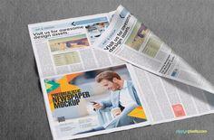 13 Professional Newspaper PSD Mockups | Beautiful closeup view of half page ad…