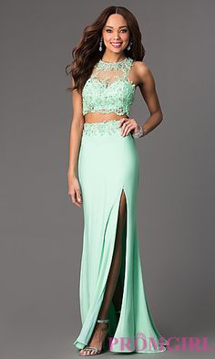 Two Piece Prom Dress by Blush. Shop the look: http://www.promgirl.com/shop/dresses/viewitem-PD1299589