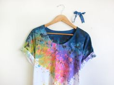 Splash Dyed Hand PAINTED Scoop Neck Pinned Rolled by twostringjane, $58.00
