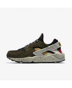112773a5d433 Nike Air Huarache Premium Black Solar Red Pale Grey Desert Moss 704830-010 Mens  Nike