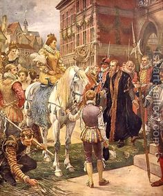 Ernest Crofts:Queen Elizabeth I (1530-1603) opening the Royal Exchange in 1570, illustration from Hutchinsons, Story of the British Nation