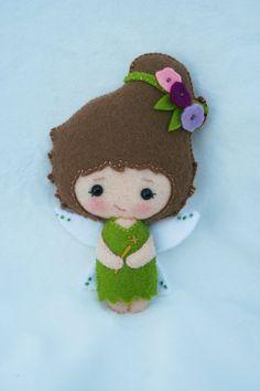 Small handmade wool felt fairy doll by JuneBugDolls on Etsy