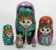Skelly Nesting Dolls by SkellyChic on Etsy, $85.00