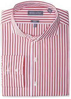 "Michael Bastian Men's Slim Fit Spread Collar Dress Shirt, Bengal Stripe/Red/White, 16.5"" Neck 34""-35"" Sleeve"