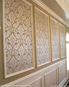Classic Damask Stencil Large Vintage Design – European Wallpaper look DIY Wall Painting in Dining Room Makeover – Classic Damask Wall Stencil by Royal Design Studio – pic by Nic Brush Damask Wall Stencils, Stencils For Walls, Wall Stenciling, Damask Decor, Bird Stencil, Wall Stencil Patterns, Painting Patterns, Wall Design, House Design