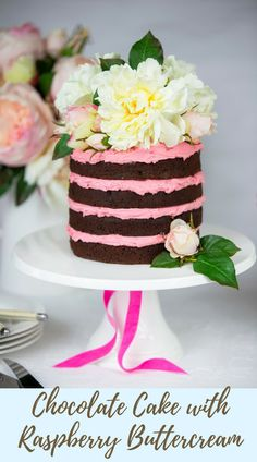 Rich Chocolate Cake with Real Raspberry Buttercream. Perfect for celebrations, birthdays or any occasion!