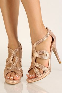 Rose Gold Rhinestone Strappy High Heels Strappy High Heels, Prom Heels, High Heel Pumps, Pumps Heels, Stiletto Heels, Spring Shoes, Summer Shoes, Rose Gold Heels, Gold Rhinestone