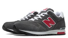 New Balance Suede 565, Dark Grey with Red