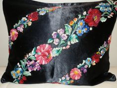 Traditional hand made Hungarian vintage embroidered natural black silk pillow case with Kalocsa